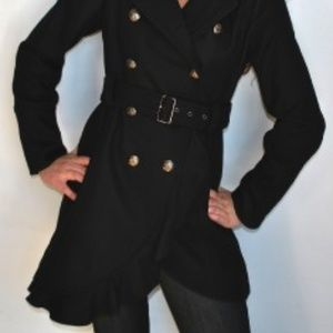 Guess Los Angeles 1981 Black Pea Coat Trench L